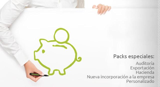 Packs especiales: Auditoría, Exportación, Hacienda, Nueva incorporación a la empresa, Personalizado.