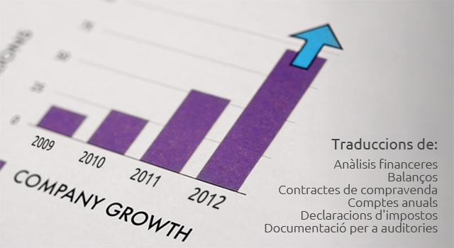 Traduccions de: Anàlisis financeres; Balanços; Contractes de compravenda; Comptes anuals; Declaracions d'impostos; Documentació per a auditories.