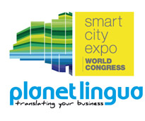 Logotipos de Planet Lingua y de Smart City Expo World Congress