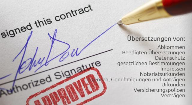Übersetzung von Verträgen, Urkunden und Rechtstexten