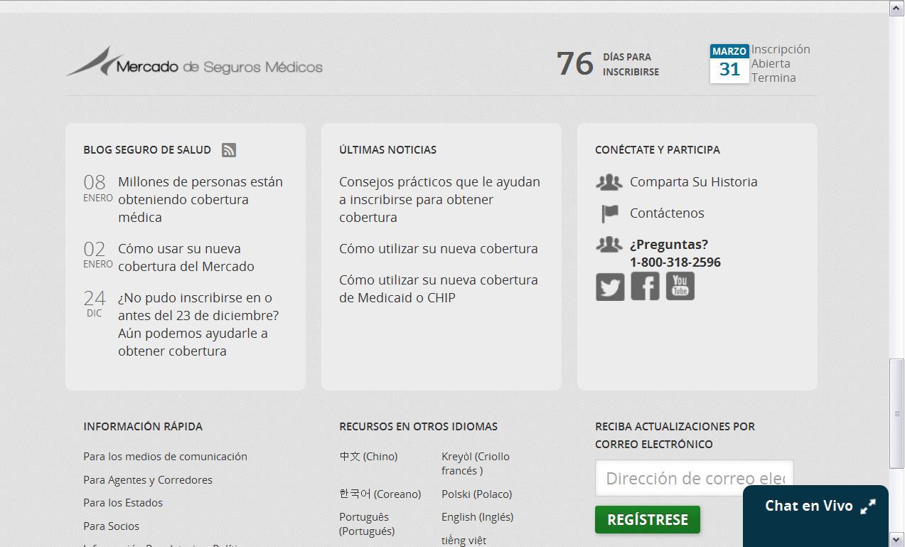 """Errores de traducción en la página web oficial """"Cuidado de salud"""""""