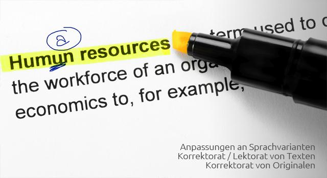 Korrektorat / Lektorat von Originalen und Sprachanpassungen